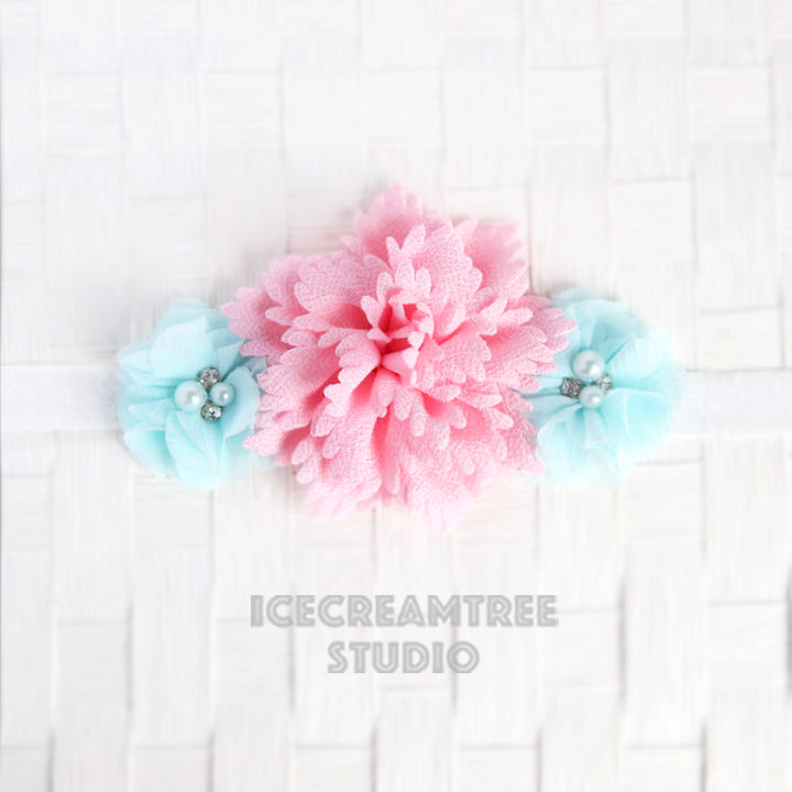 Light Pink Aqua Flower Necklace - Elastic Pet Collar