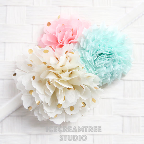 Cream Pink Aqua Bouquet Flower Collar Slide On - Bouquet Flowers Collar Accessory