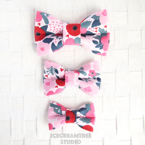 Pink Flower Heart Bow - Collar Slide on Bow