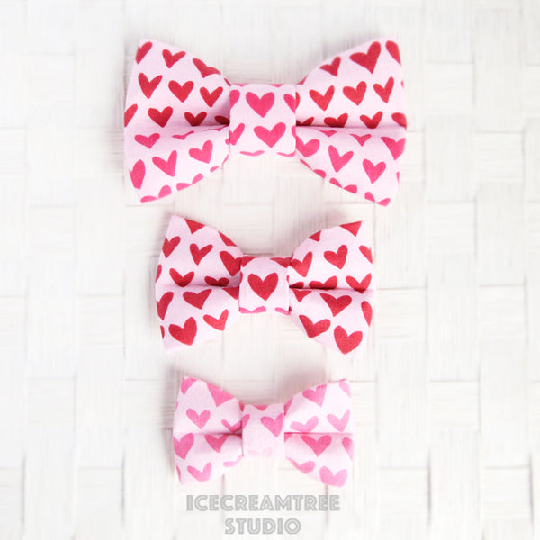 Pink Red Hearts Bow - Collar Slide on Bow