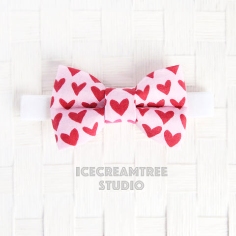Pink Red Hearts Bow Tie - Pet Bow Tie