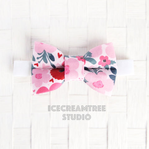 Pink Flower Heart Bow Tie - Pet Bow Tie
