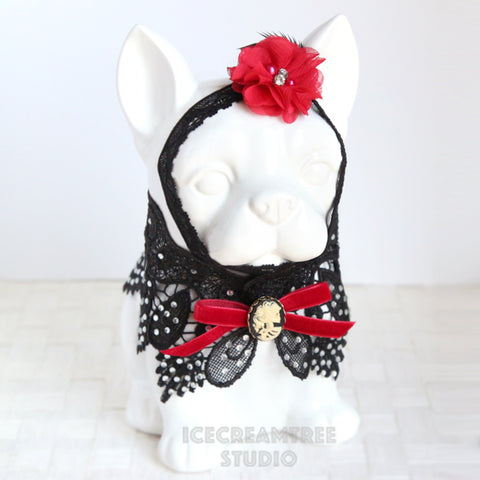 Black Lace Cape and Flower Head Band  - Pet Costume