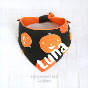 Black Orange Pumpkin Bandana (Glow in dark) - Tie on Modern Pet Bandana Scarf