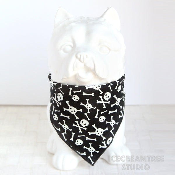 Black Skulls Bandana (Glow in dark) - Tie on Classic Pet Bandana Scarf