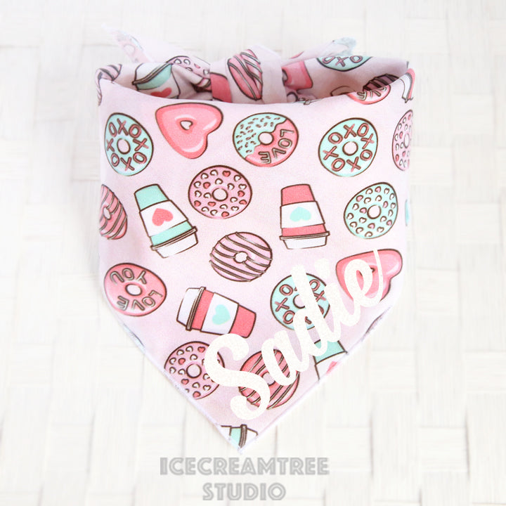 Pink Coffee and Donuts Bandana - Tie on Classic Pet Bandana Scarf - Valentines Day