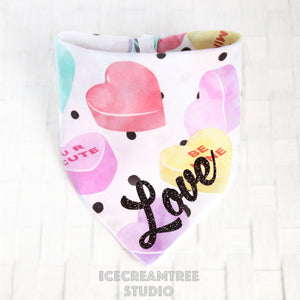 Sweethearts Candy Bandana - Tie on Classic Pet Bandana Scarf - Valentines Day