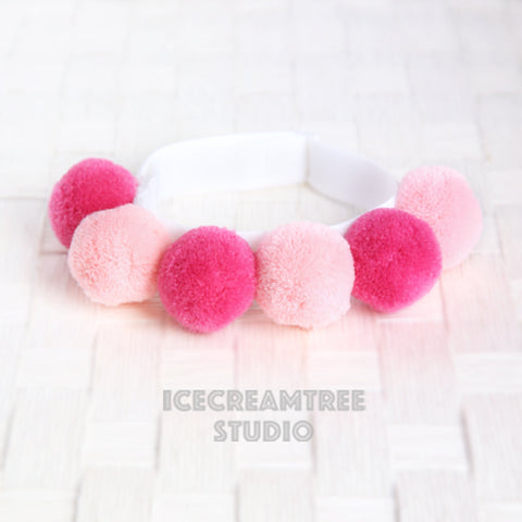 Pink PomPom Necklace - Elastic Pet Collar
