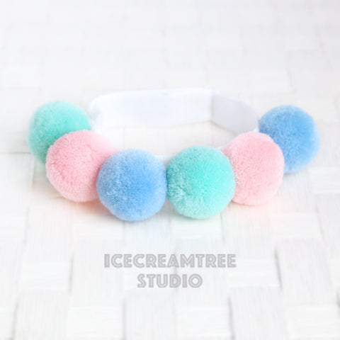 Pastel PomPom Necklace - Elastic Pet Collar