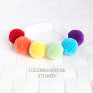 Rainbow PomPom Necklace - Elastic Pet Collar