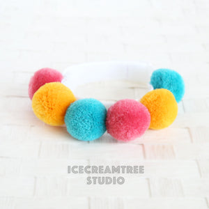 Retro Colors PomPom Necklace - Elastic Pet Collar