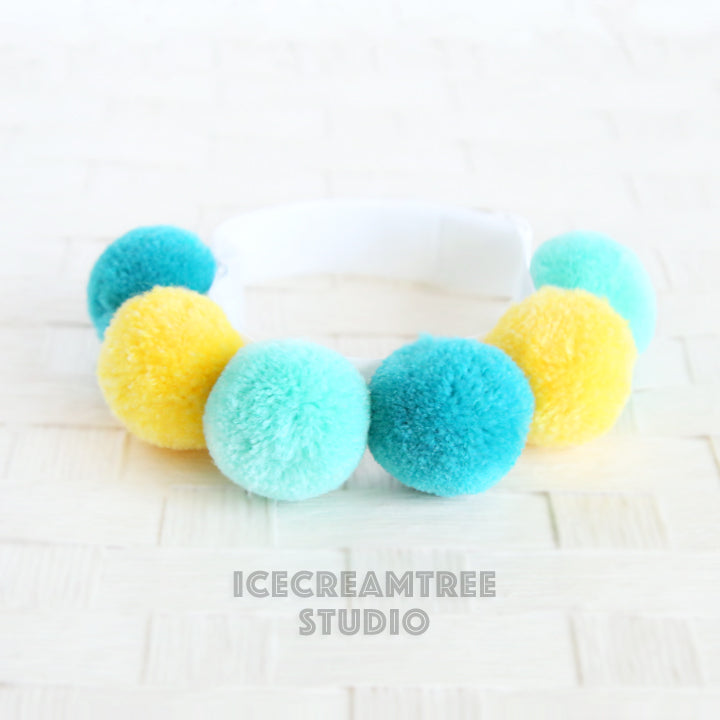 Blue Yellow PomPom Necklace - Elastic Pet Collar