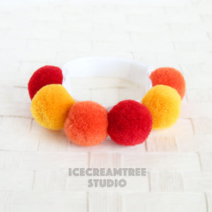 Red PomPom Necklace - Elastic Pet Collar