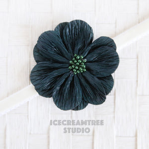 Peacock Green Flat Flower Collar Slide On - Large Flower Collar Accessory
