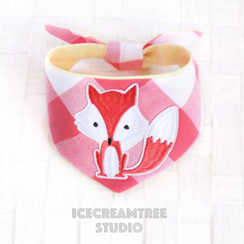 Coral Gingham Check Foxy Bandana - Tie on Modern Pet Bandana Scarf