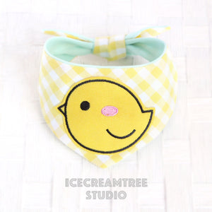 Yellow Gingham Check Chick Bandana - Tie on Modern Pet Bandana Scarf