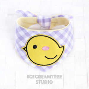 Lavender Gingham Check Chick Bandana - Tie on Modern Pet Bandana Scarf