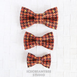 Pumpkin Houndstooth Bow - Collar Slide on Bow