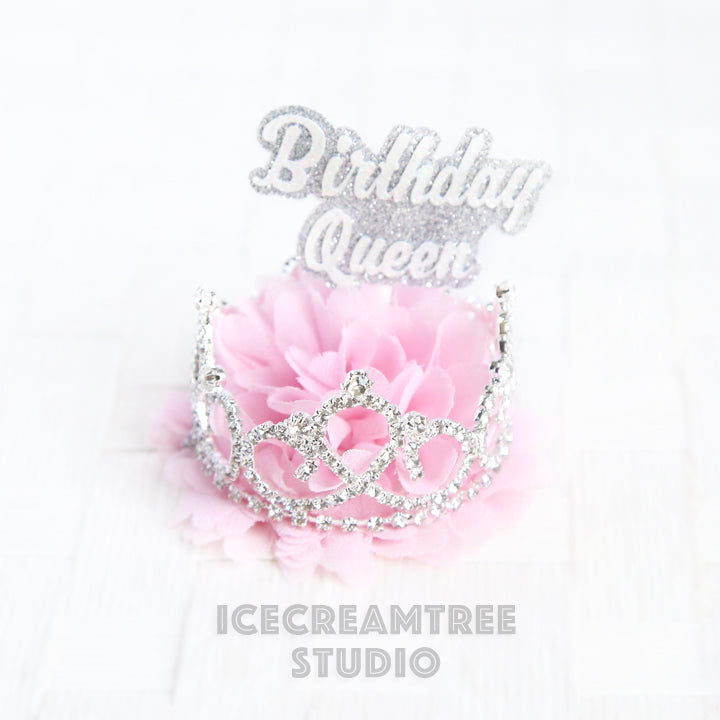 Baby Pink Birthday Tiara Crown Hat - Pet Birthday Hat