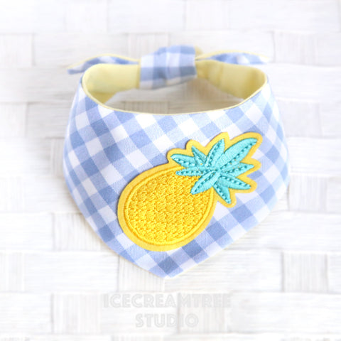 Periwinkle Gingham Check Pineapple Bandana - Tie on Modern Pet Bandana Scarf