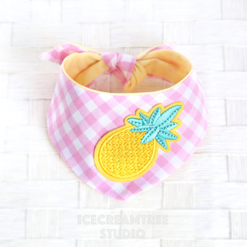 Candy Pink Gingham Check Pineapple Bandana - Tie on Modern Pet Bandana Scarf
