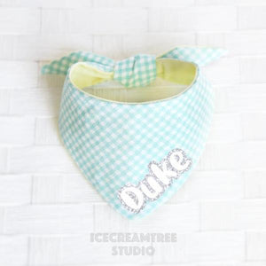 Mint Green Check Bandana - Tie on Modern Pet Bandana Scarf