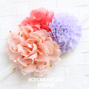 Peach Coral Lavender Bouquet Flower Collar Slide On - Bouquet Flowers Collar Accessory