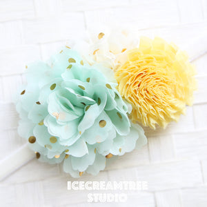 Mint Cream Yellow Bouquet Flower Collar Slide On - Bouquet Flowers Collar Accessory