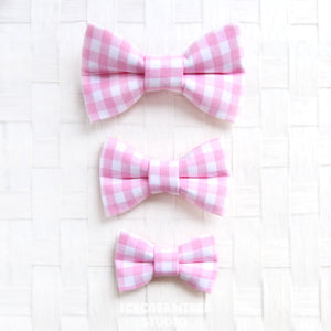 Candy Pink Gingham Check Bow - Collar Slide on Bow