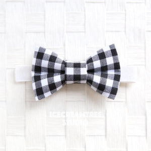 Black Gingham Check Bow Tie - Pet Bow Tie