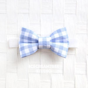 Periwinkle Gingham Check Bow Tie - Pet Bow Tie