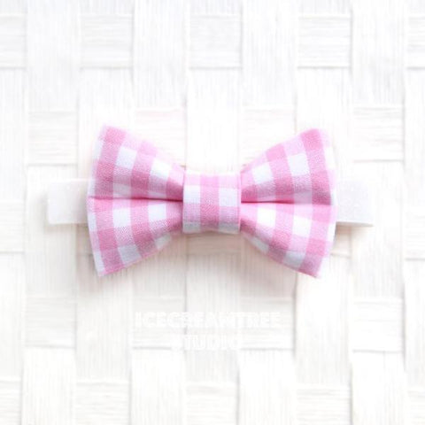 Candy Pink Gingham Check Bow Tie - Pet Bow Tie