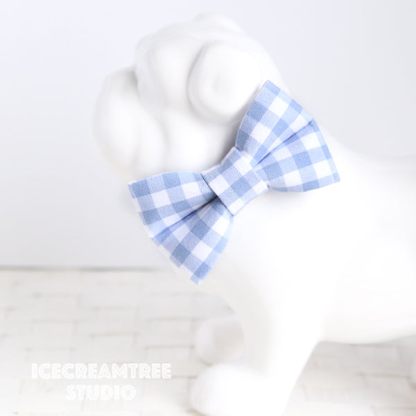 Periwinkle Gingham Check Bow - Collar Slide on Bow