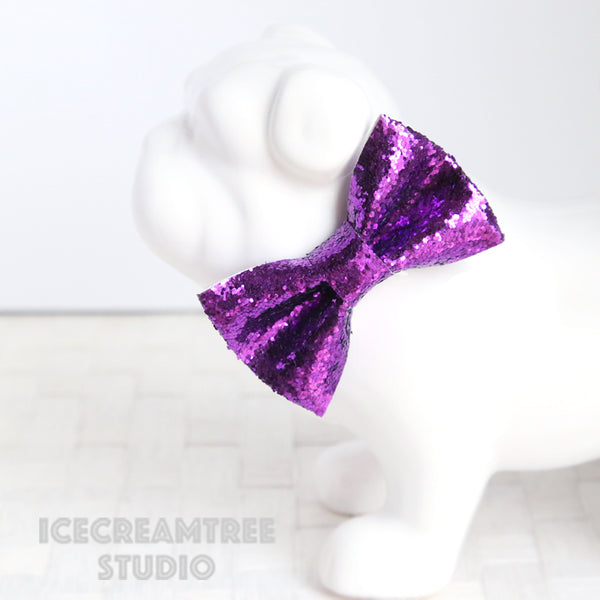 Sparkle Glitter Purple Bow - Collar Slide on Bow