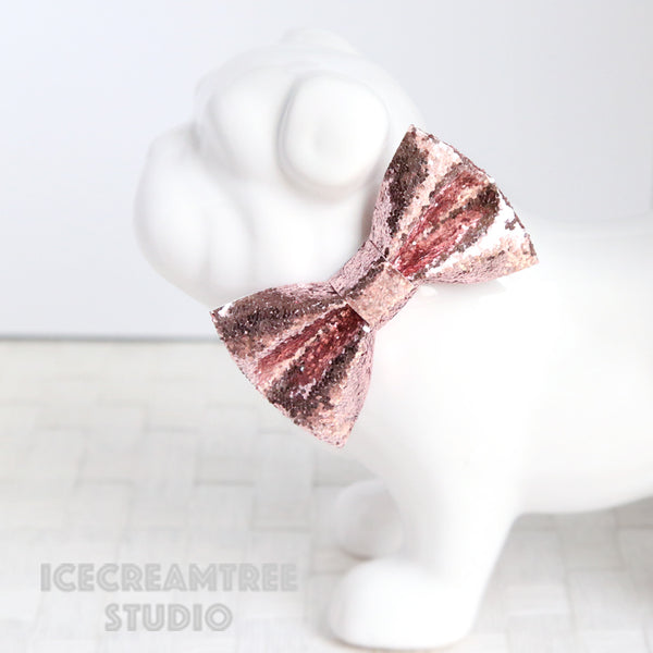 Sparkle Glitter Rose Gold Bow - Collar Slide on Bow
