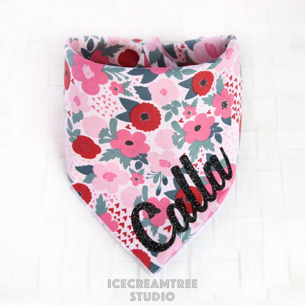 Pink Flower Heart Bandana - Tie on Classic Pet Bandana Scarf