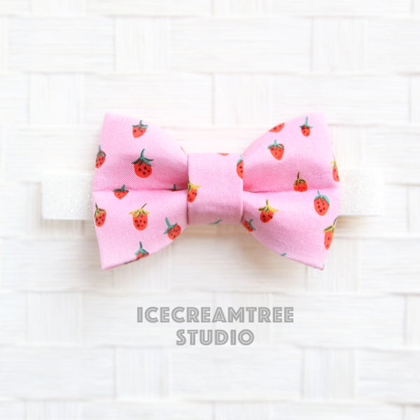 Pink Strawberry Bow Tie - Pet Bow Tie