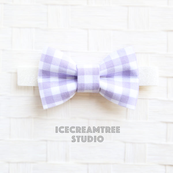Lavender Gingham Check Bow Tie - Pet Bow Tie