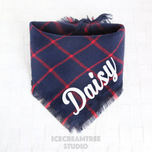 Navy Red Plaid Bandana - Tie on Classic Flannel Pet Bandana Scarf