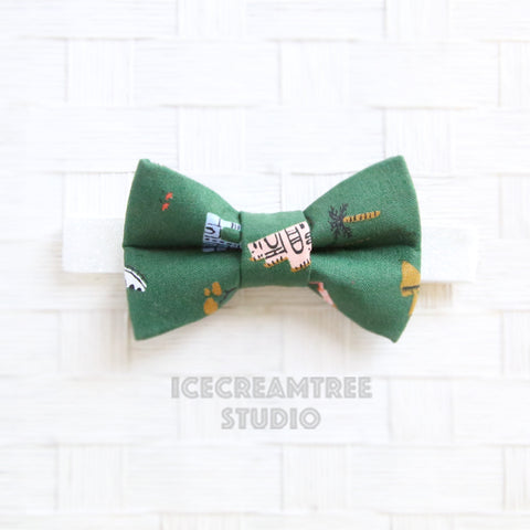 Forest Green Around the World Bow Tie - Pet Bow Tie