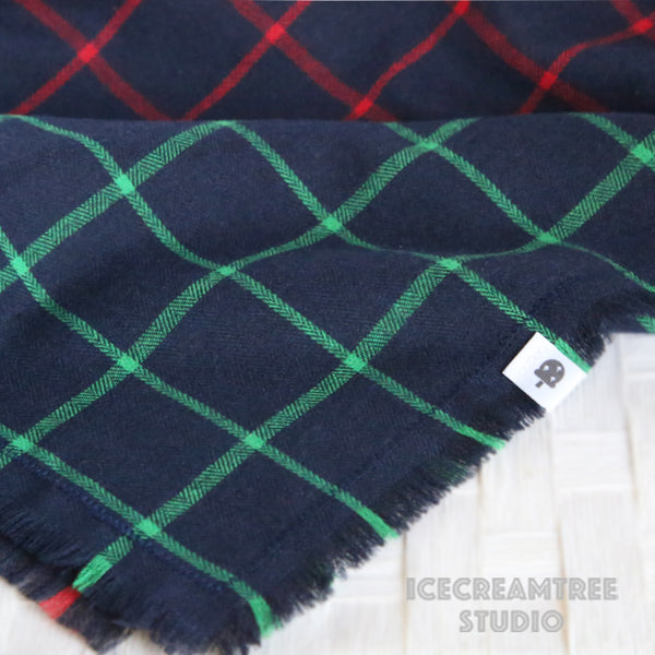 Navy Green Plaid Bandana - Tie on Classic Flannel Pet Bandana Scarf