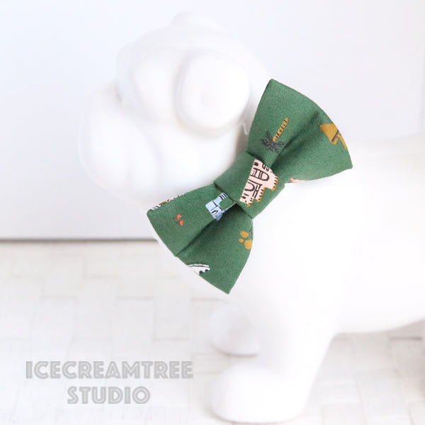 Forest Green Around the World Bow - Collar Slide on Bow