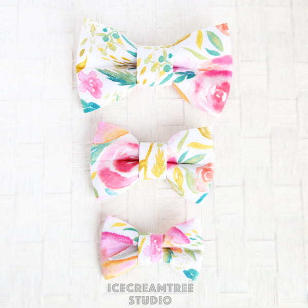 Watercolor Floral Bow - Collar Slide on Bow