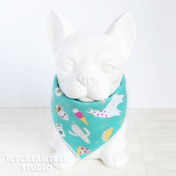 Turquoise Fun Icons Bandana - Tie on Classic Pet Bandana Scarf