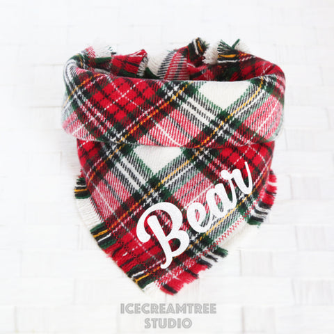 Classic Winter Plaid Bandana - Tie on Classic Flannel Pet Bandana Scarf
