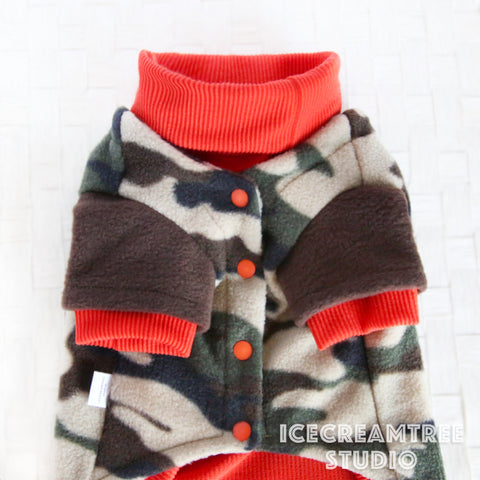 Camouflage Cardigan Sweater Camo Look Outfit - Pet Clothing