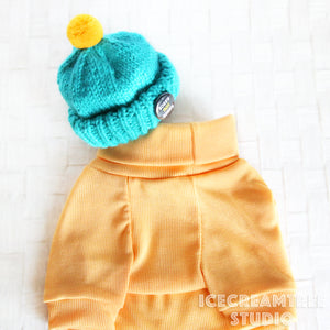 Yellow Corduroy Turtleneck Top - Pet Clothing