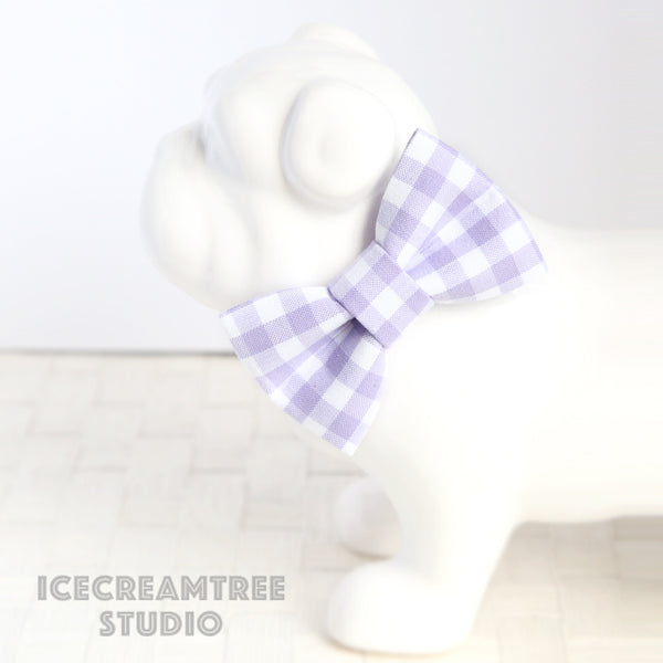 Lavender Gingham Check Bow - Collar Slide on Bow