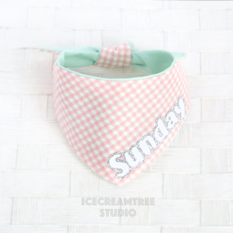 Baby Pink Check Bandana - Tie on Modern Pet Bandana Scarf