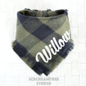 Olive Green Black Buffalo Plaid Bandana - Tie on Classic Flannel Pet Bandana Scarf